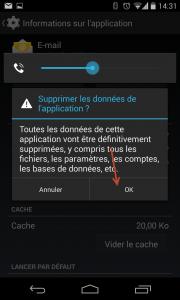 Supprimer compte de type E-mail Entreprise sous Android - Accepter la suppression des données