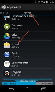 Supprimer compte de type E-mail Entreprise sous Android - Trouver l'application E-mail