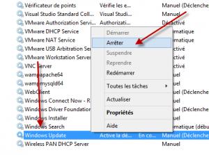 Arreter le service Windows Update