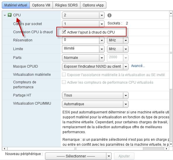 Activer l'ajout à chaud de CPU via la console VMWare Web