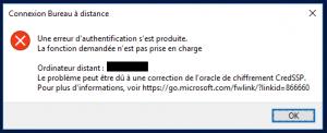 Erreur CredSSP qui apparaît à la connexion d'un serveur RDS.